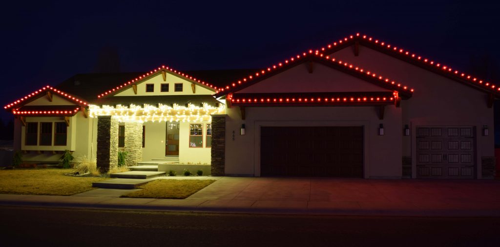 Red Gable Lights And White Icicles Festive Glow Holiday